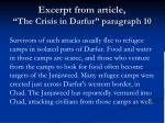 excerpt from article the crisis in darfur paragraph 10