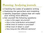 planning analysing journals