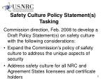 safety culture policy statement s tasking