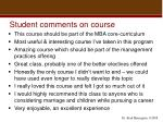 student comments on course