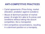 anti competitive practices