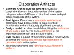 elaboration artifacts