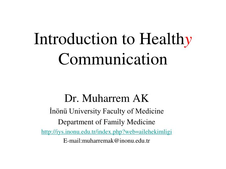 introduction to health y communication n.
