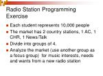 radio station programming exercise