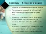summary 4 rules of business