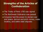 strengths of the articles of confederation