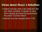 views about shays s rebellion