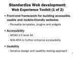 standardize web development web experience toolkit 1 of 2