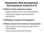 standardize web development web experience toolkit 2 of 2