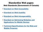 standardize web pages web standards government of canada