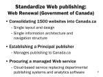 standardize web publishing web renewal government of canada