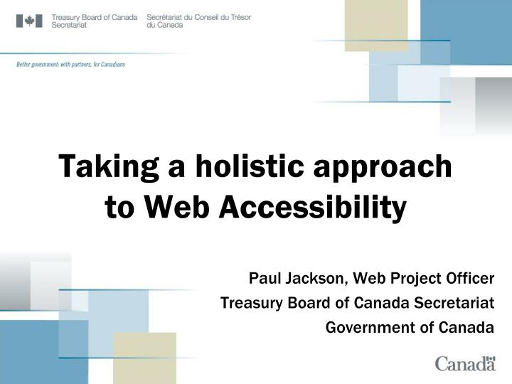 taking a holistic approach to web accessibility n.