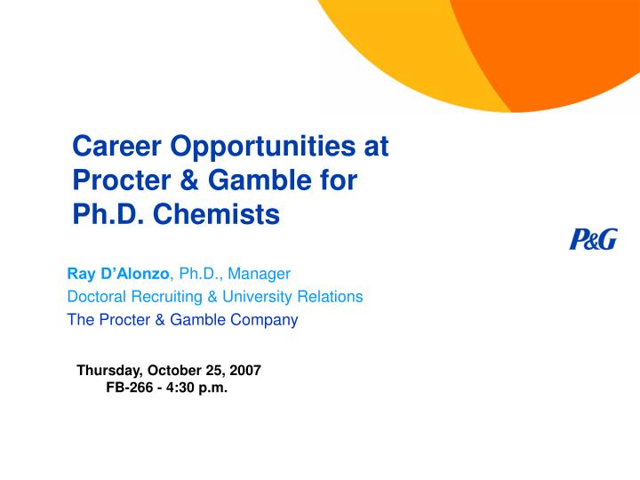 career opportunities at procter gamble for ph d chemists n.