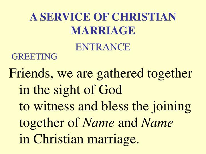 a service of christian marriage greeting n.