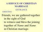 a service of christian marriage greeting