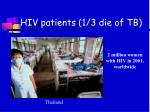 hiv patients 1 3 die of tb