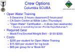 crew options columbia scuba