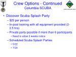 crew options continued columbia scuba