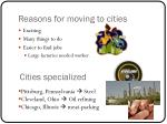 reasons for moving to cities