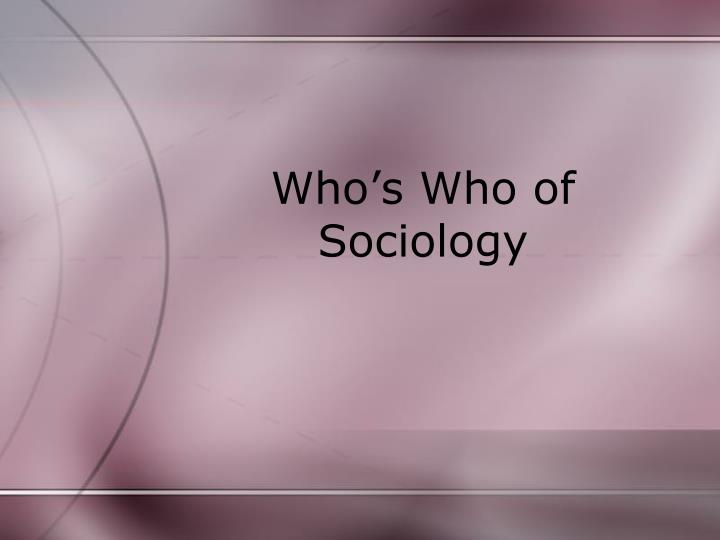 who s who of sociology n.