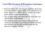 cost effectiveness of premium assistance