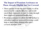 the impact of premium assistance on those already eligible but not covered1