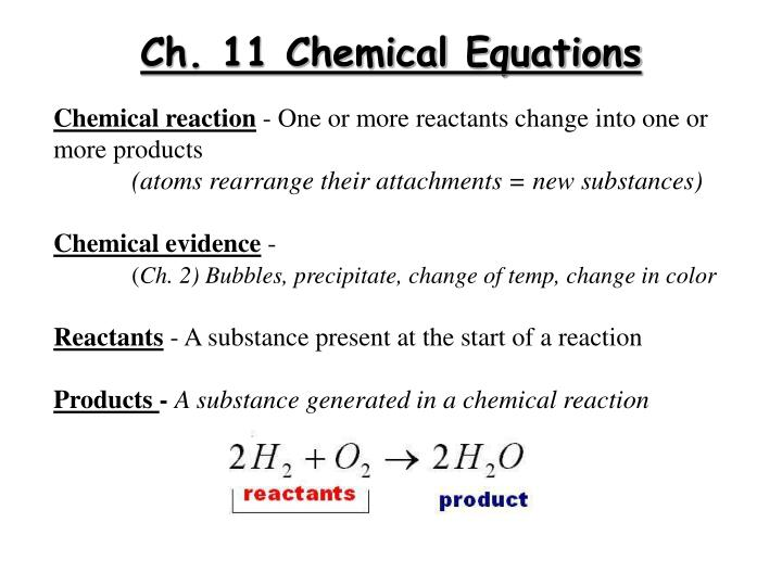 ch 11 chemical equations n.