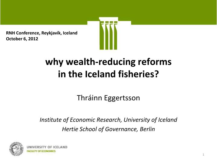 why wealth reducing reforms in the iceland fisheries n.