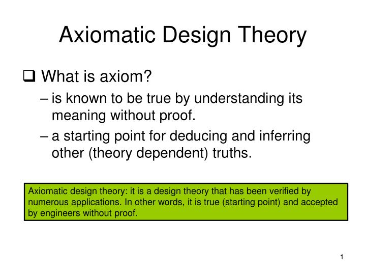 axiomatic design theory n.