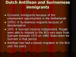 dutch antillean and surinamese immigrants