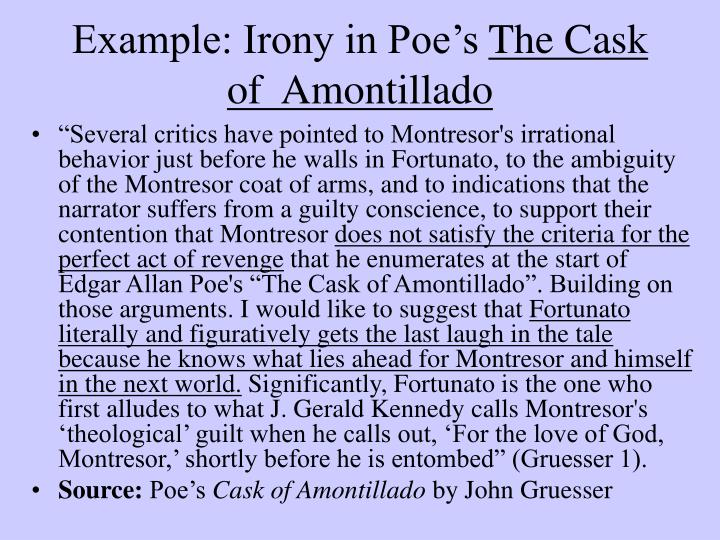 the question of insanity in the short story the cask of amontillado The cask of amontillado by edgar allan poe (published 1846) the thousand injuries of fortunato i had borne as i best could, but when he ventured upon insult i vowed revenge.