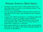 primary sources short story