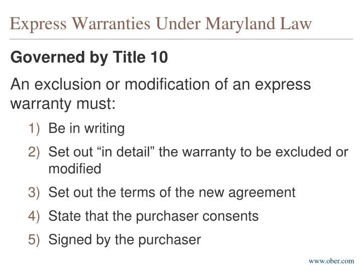 Express Warranties Under Maryland Law