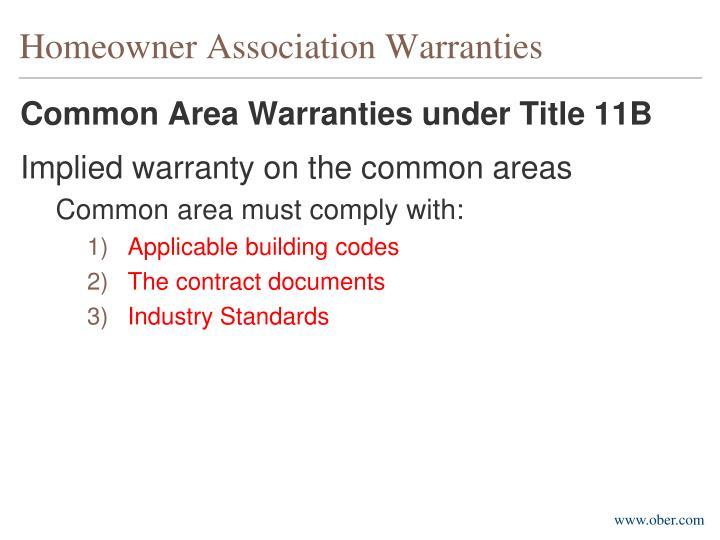 Homeowner Association Warranties