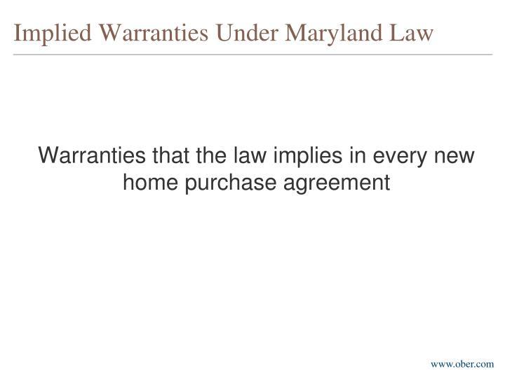 Implied warranties under maryland law