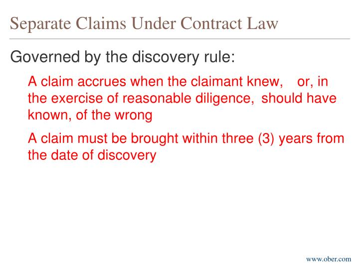 Separate Claims Under Contract Law