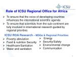 role of icsu regional office for africa