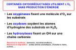 certaines oxydor ductases utilisent l o 2 sans production d nergie