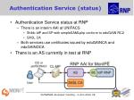 authentication service status