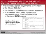13 3 generating music on the x86 pc playing happy birthday on the pc1