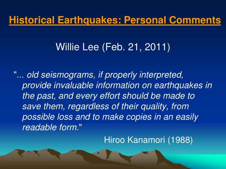 historical earthquakes personal comments n.