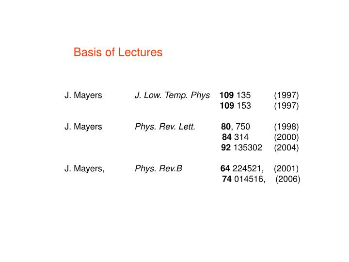 Basis of Lectures
