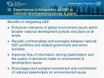 iii experiences in integration of gef in national development policies plans