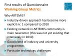 first results of questionnaire working group metrics