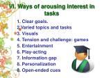 vi ways of arousing interest in tasks