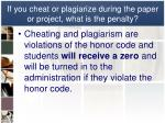 if you cheat or plagiarize during the paper or project what is the penalty