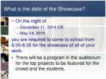 what is the date of the showcase