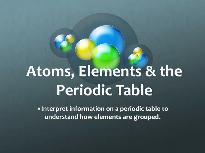 atoms elements the periodic table n.