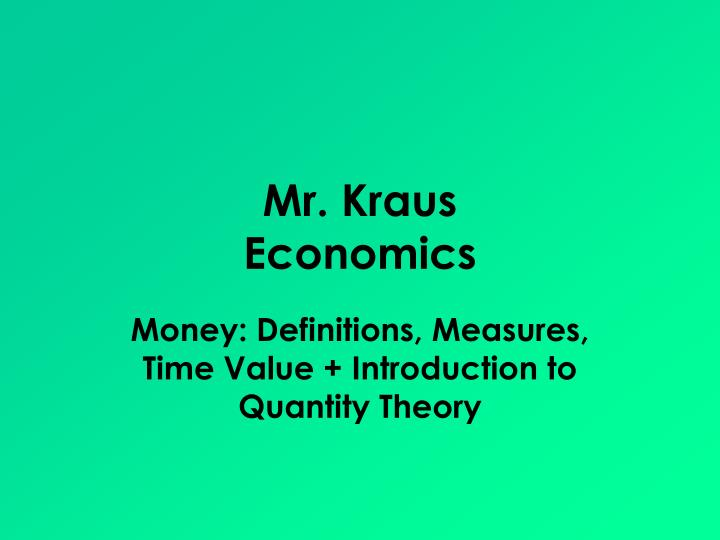 mr kraus economics n.