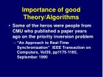 importance of good theory algorithms